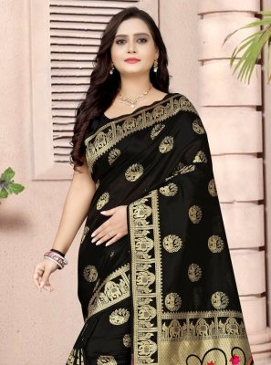 Fancy Fabric Black Printed Printed Saree