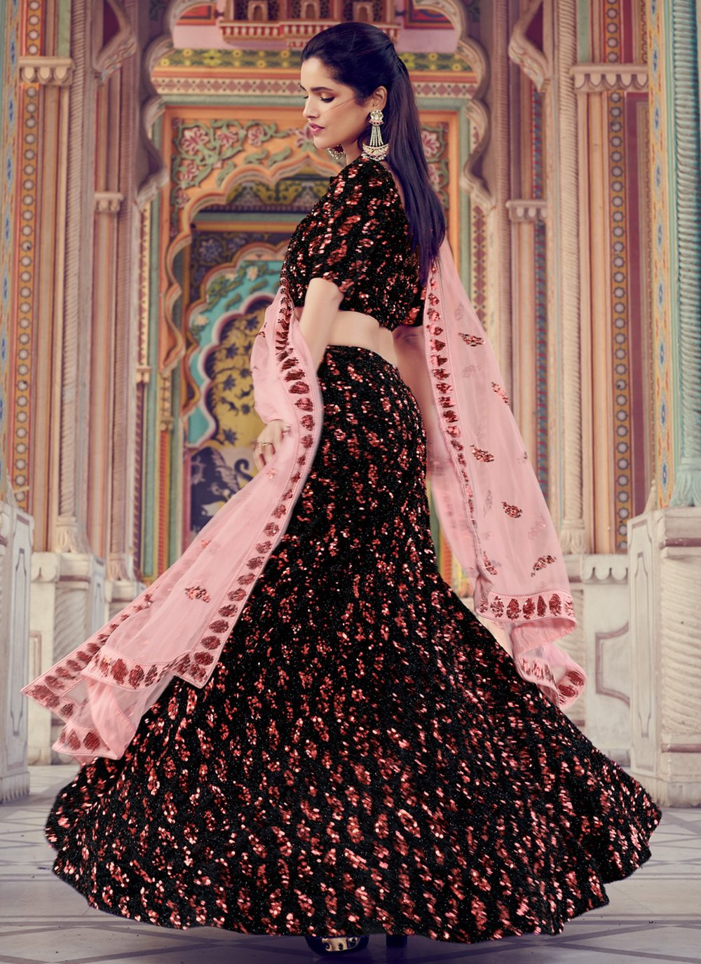 Fancy Fabric Black Sequins Lehenga Choli
