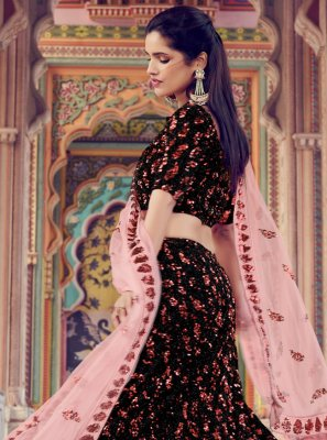 Fancy Fabric Black Sequins Lehenga Choli