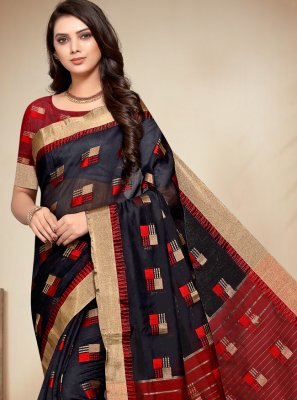 Fancy Fabric Black Woven Classic Saree