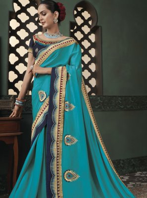 Fancy Fabric Blue Classic Designer Saree