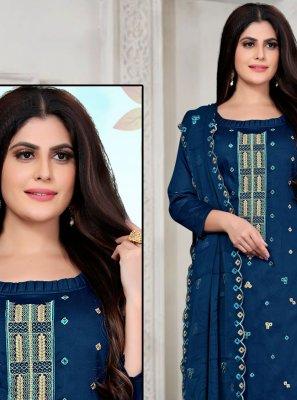 Fancy Fabric Blue Embroidered Designer Palazzo Salwar Kameez