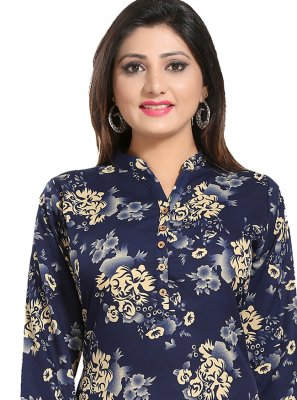 Fancy Fabric Blue Print Casual Kurti