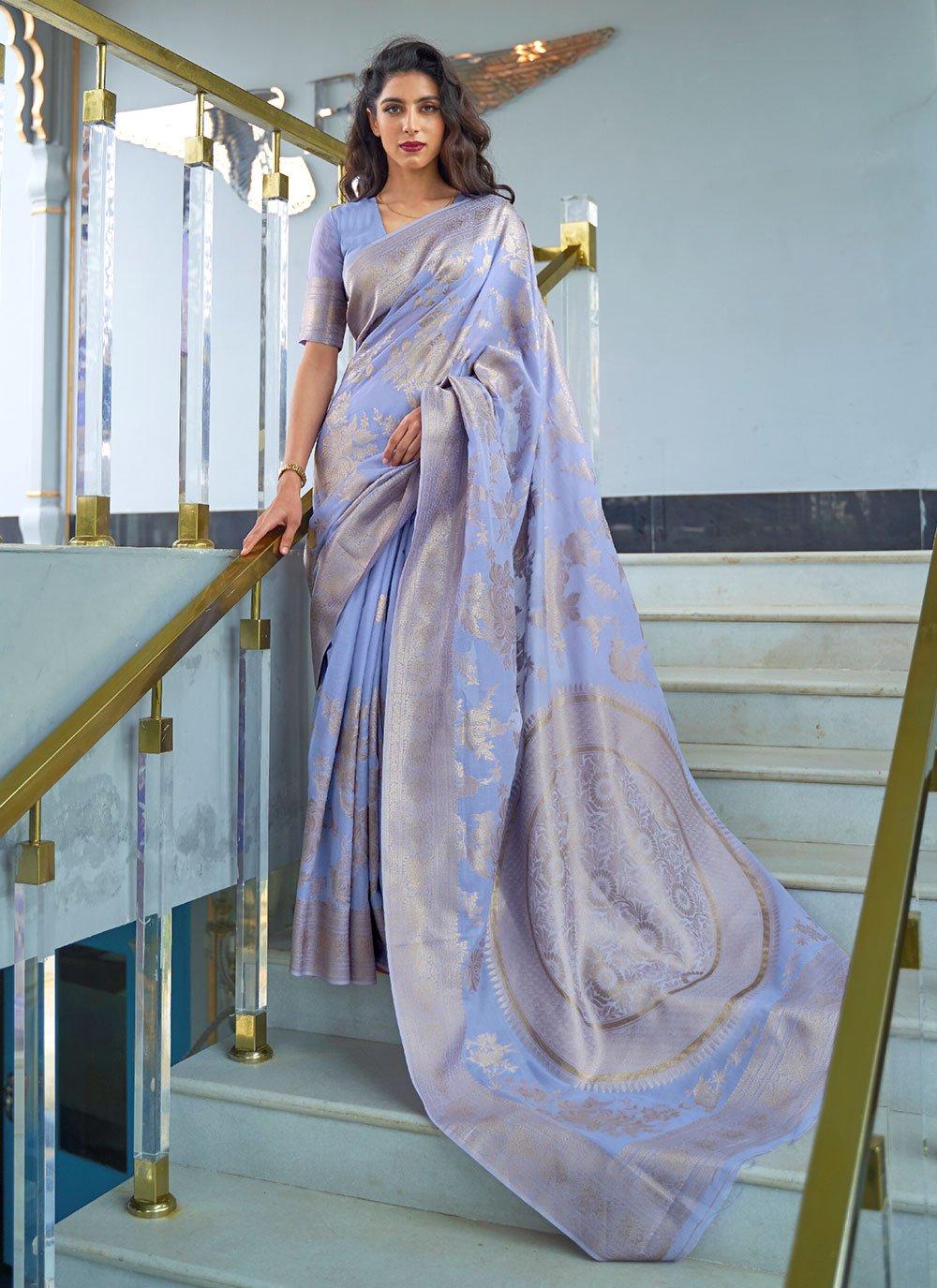 Fancy Fabric Blue Traditional Designer Saree