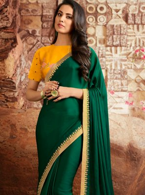 Fancy Fabric Bollywood Saree in Sea Green