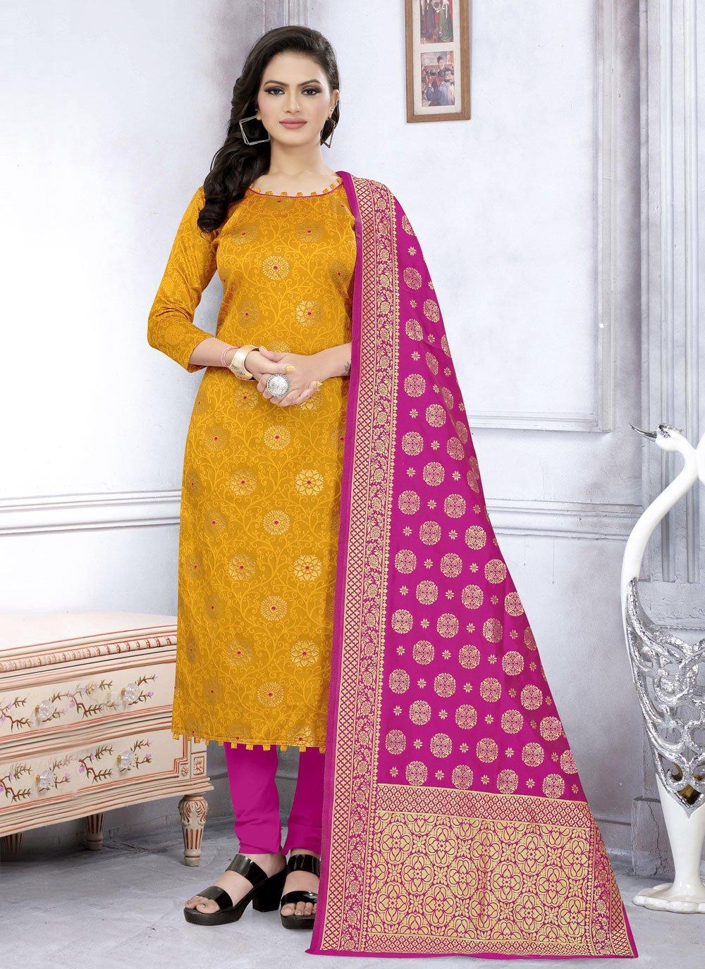 Fancy Fabric Churidar Suit in Yellow
