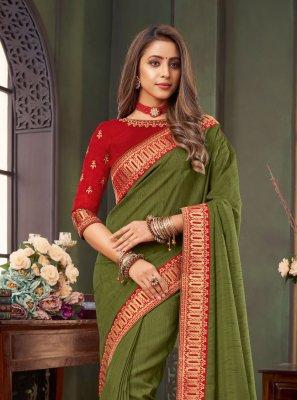 Fancy Fabric Classic Designer Saree in Green