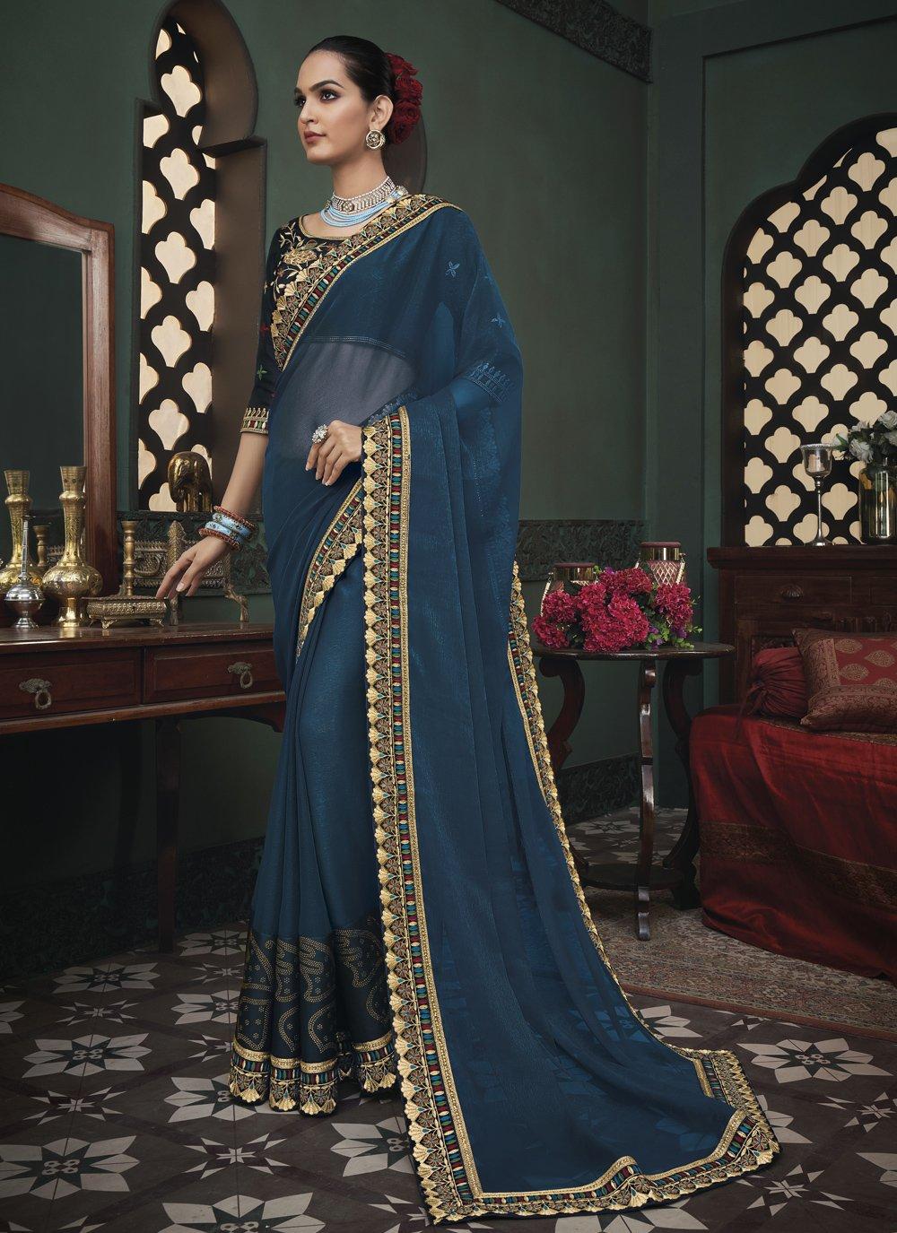 Fancy Fabric Classic Saree in Blue
