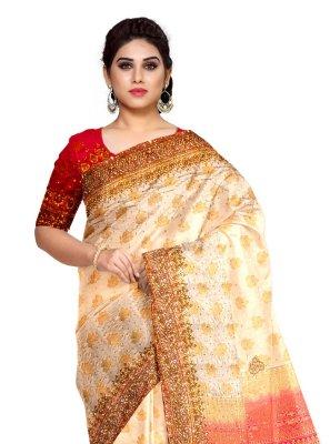 Fancy Fabric Cream Designer Saree