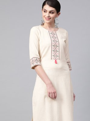 Fancy Fabric Cream Print Designer Kurti