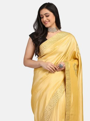 Fancy Fabric Cream Stone Work Trendy Saree