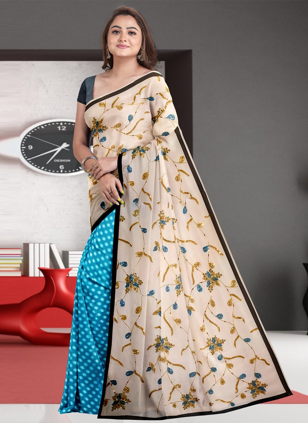 Fancy Fabric Designer Half N Half Saree