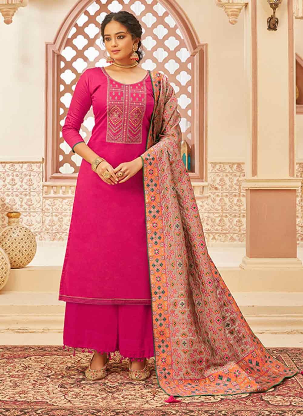 Fancy Fabric Designer Palazzo Salwar Kameez in Hot Pink