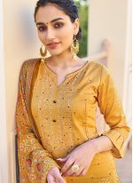 Fancy Fabric Designer Palazzo Suit in Mustard