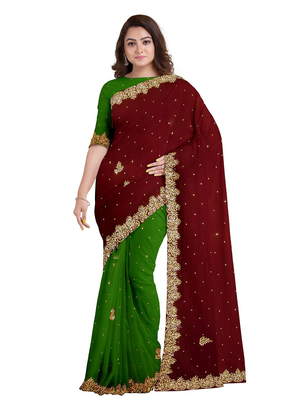 Fancy Fabric Designer Saree in Green and Maroon