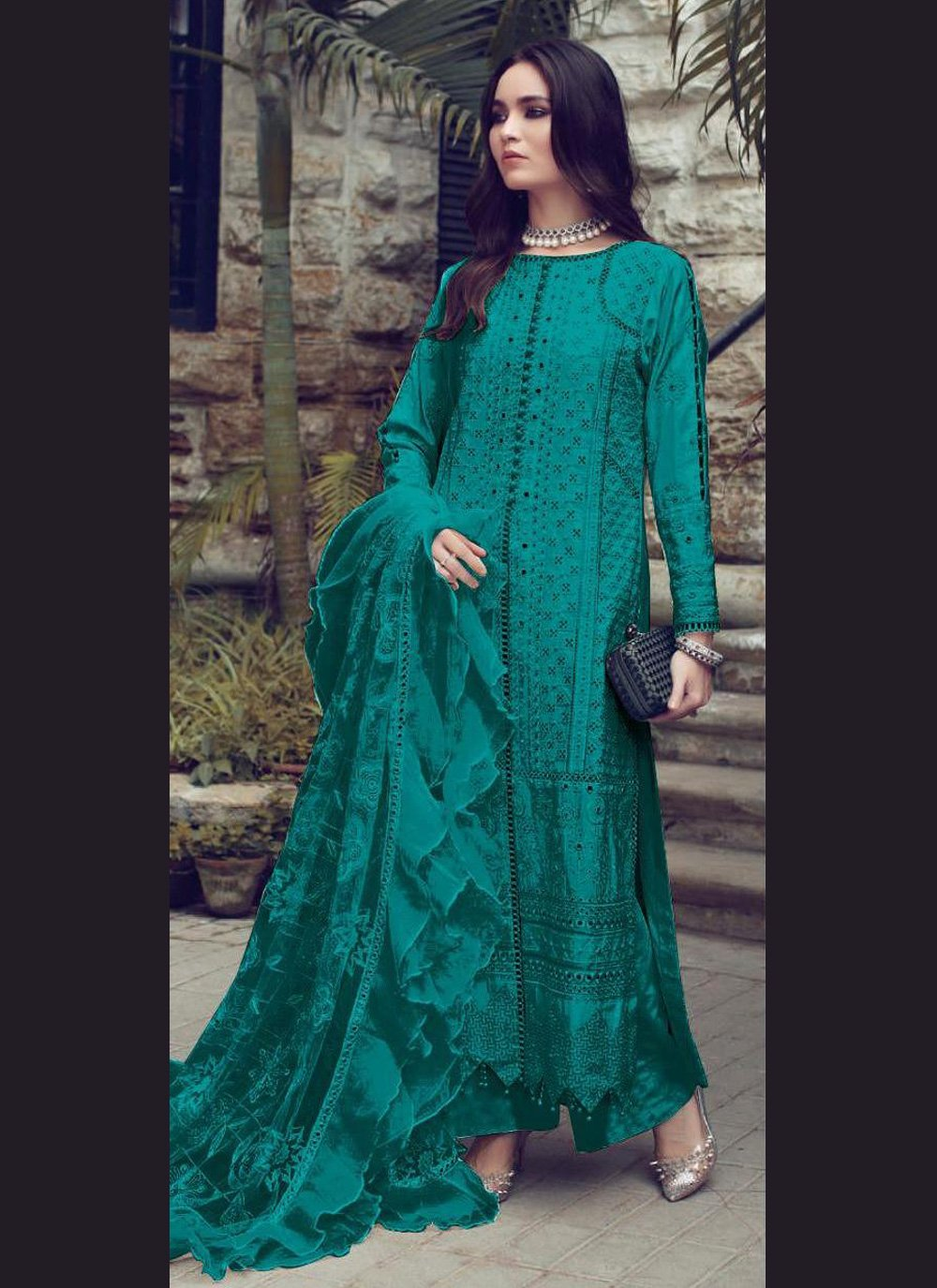Fancy Fabric Designer Straight Suit in Teal