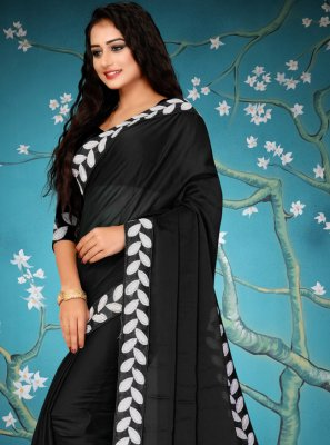 Fancy Fabric Designer Traditional Saree in Black