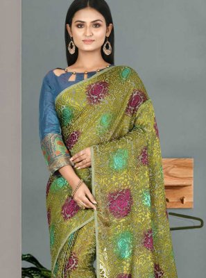 Fancy Fabric Designer Traditional Saree in Green