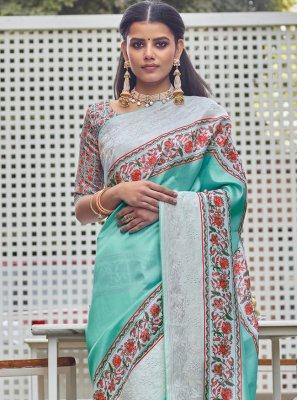 Fancy Fabric Digital Print Aqua Blue Designer Traditional Saree