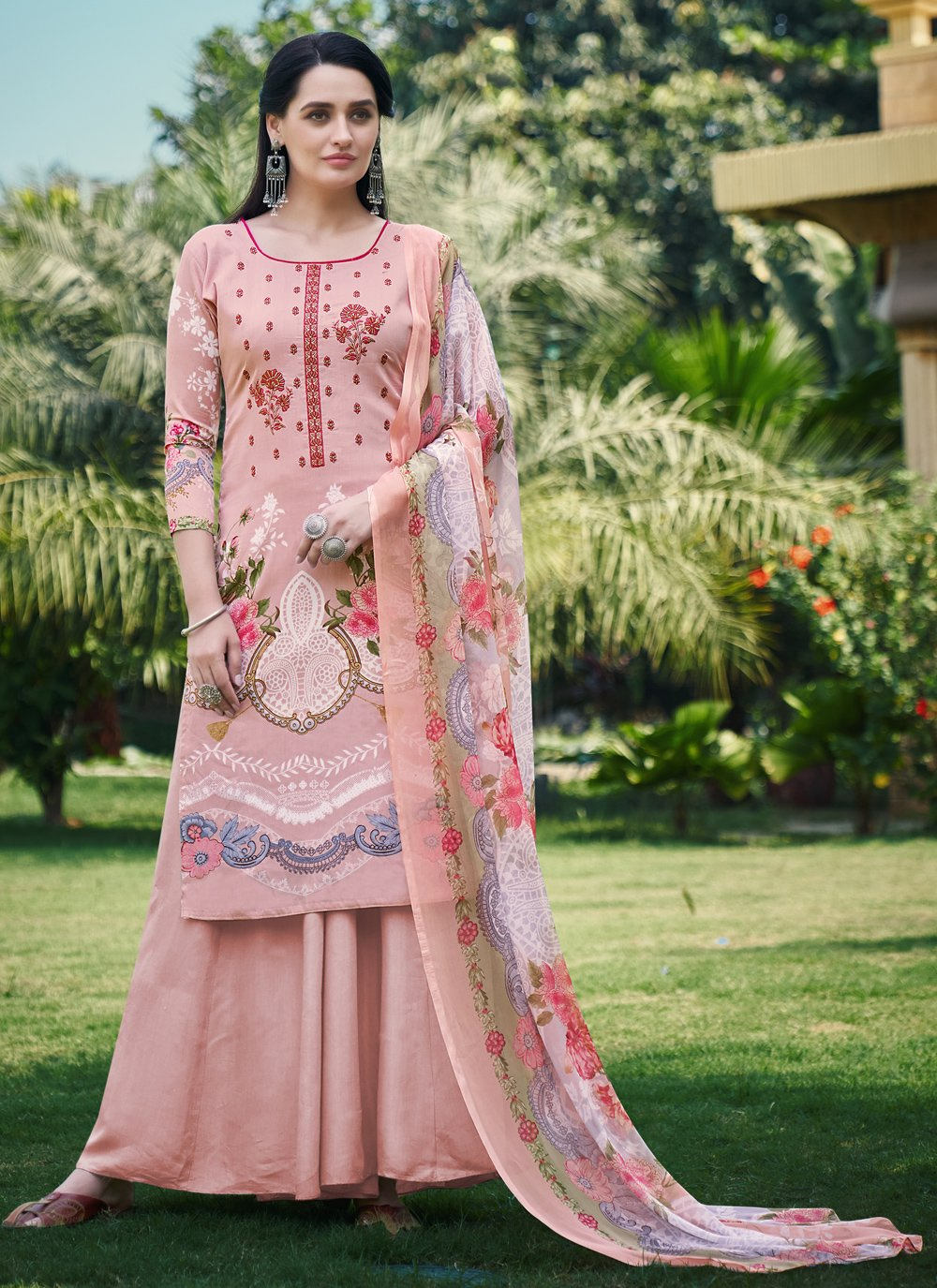 Fancy Fabric Digital Print Designer Palazzo Suit in Peach