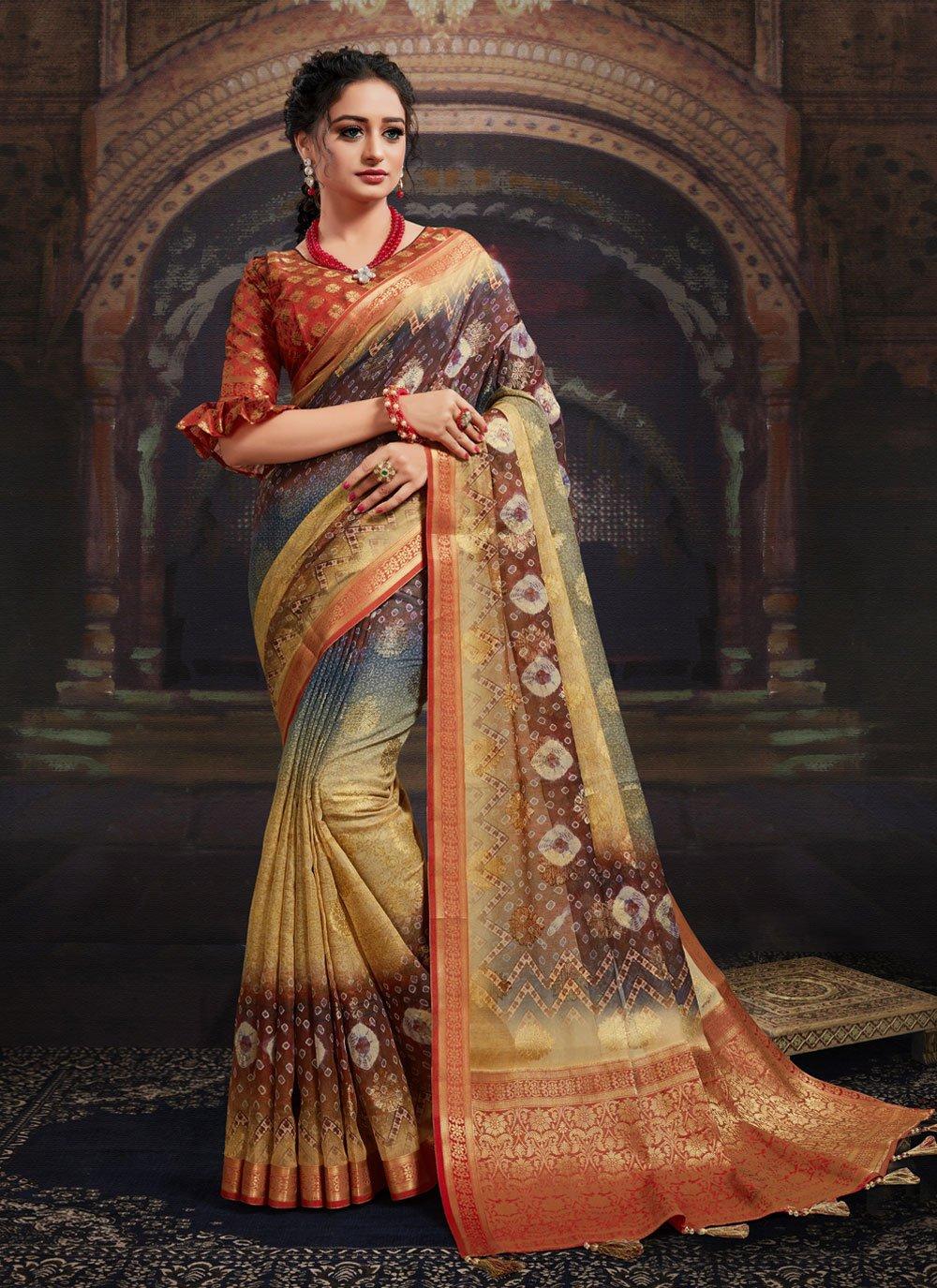 Fancy Fabric Digital Print Multi Colour Designer Saree