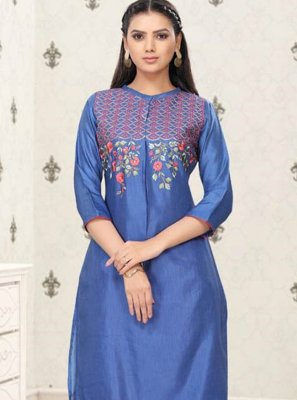 Fancy Fabric Embroidered Blue Party Wear Kurti