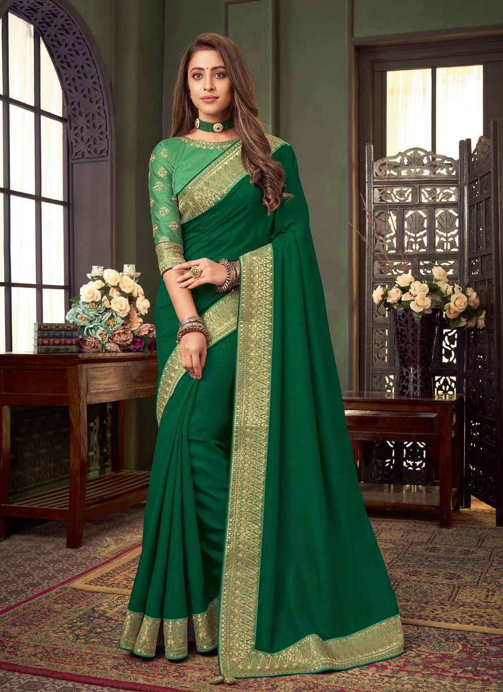Fancy Fabric Embroidered Classic Designer Saree in Green