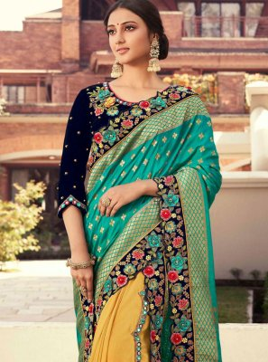 Fancy Fabric Embroidered Designer Half N Half Saree in Sea Green and Yellow