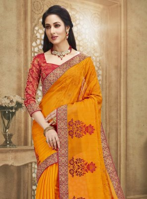 Fancy Fabric Embroidered Designer Saree