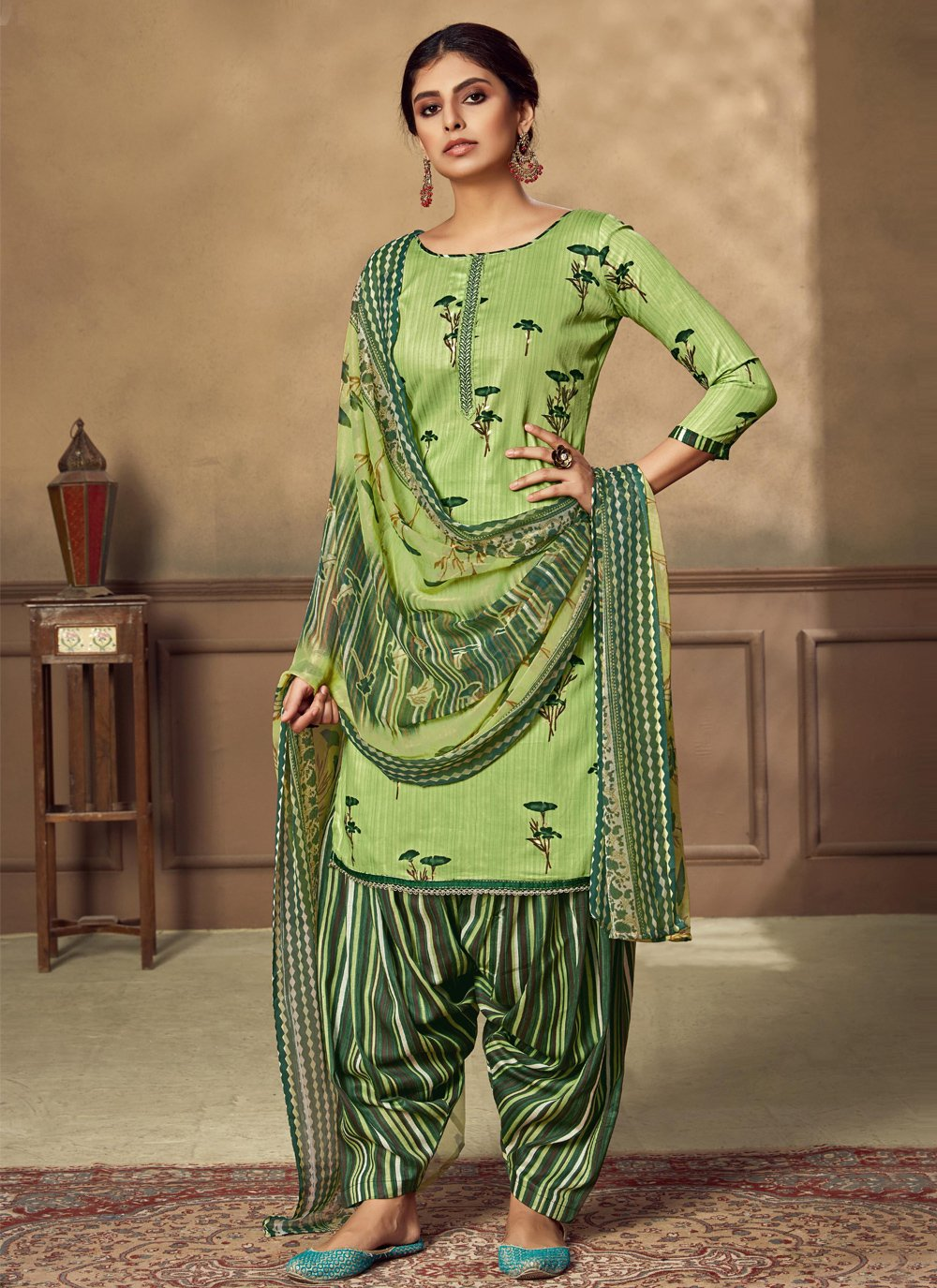 Fancy Fabric Embroidered Green Designer Patiala Suit