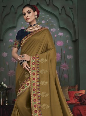 Fancy Fabric Embroidered Green Trendy Saree