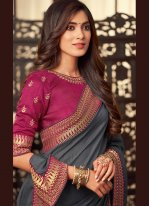 Fancy Fabric Embroidered Grey Trendy Saree