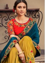 Fancy Fabric Embroidered Morpeach  and Mustard Designer Half N Half Saree
