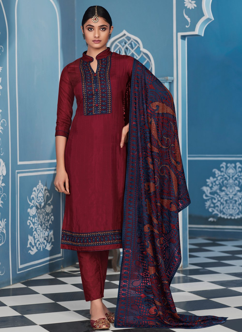 Fancy Fabric Embroidered Pant Style Suit