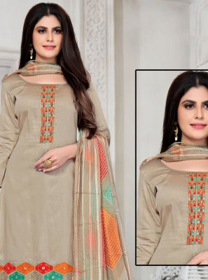 Fancy Fabric Embroidered Pant Style Suit in Beige