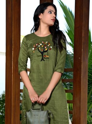 Fancy Fabric Embroidered Party Wear Kurti