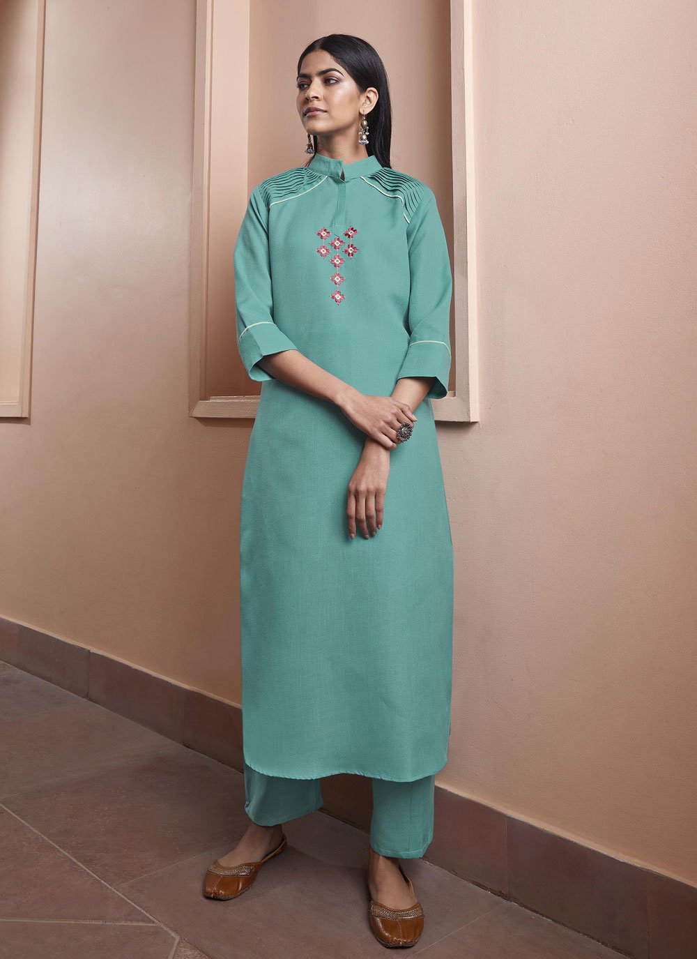 Fancy Fabric Embroidered Party Wear Kurti in Blue