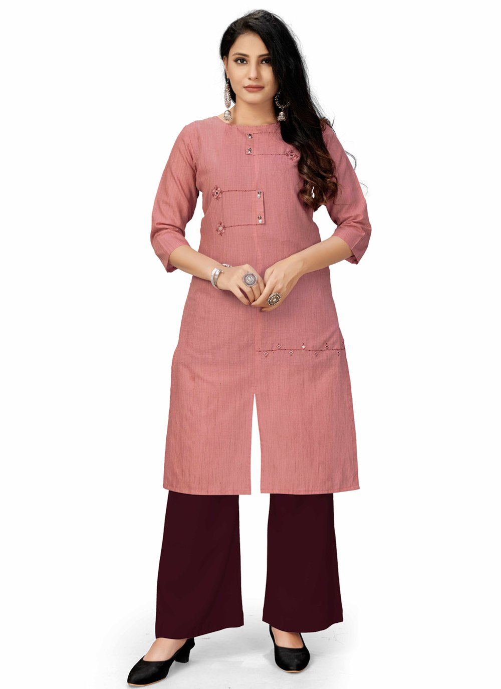 Fancy Fabric Embroidered Pink Party Wear Kurti