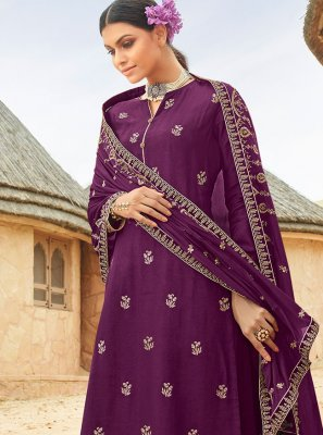 Fancy Fabric Embroidered Purple Designer Palazzo Salwar Suit