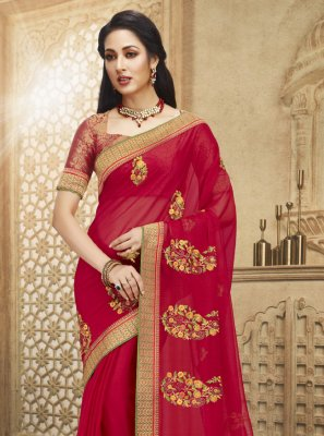 Fancy Fabric Embroidered Rani Designer Saree