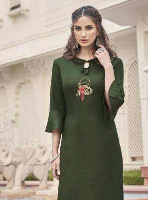 Fancy Fabric Embroidered Sea Green Party Wear Kurti