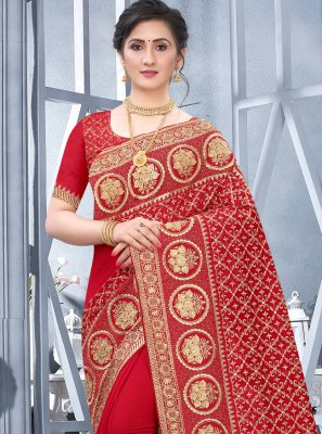 Fancy Fabric Embroidered Traditional Designer Saree in Red