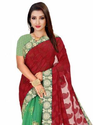 Fancy Fabric Engagement Designer Half N Half Saree