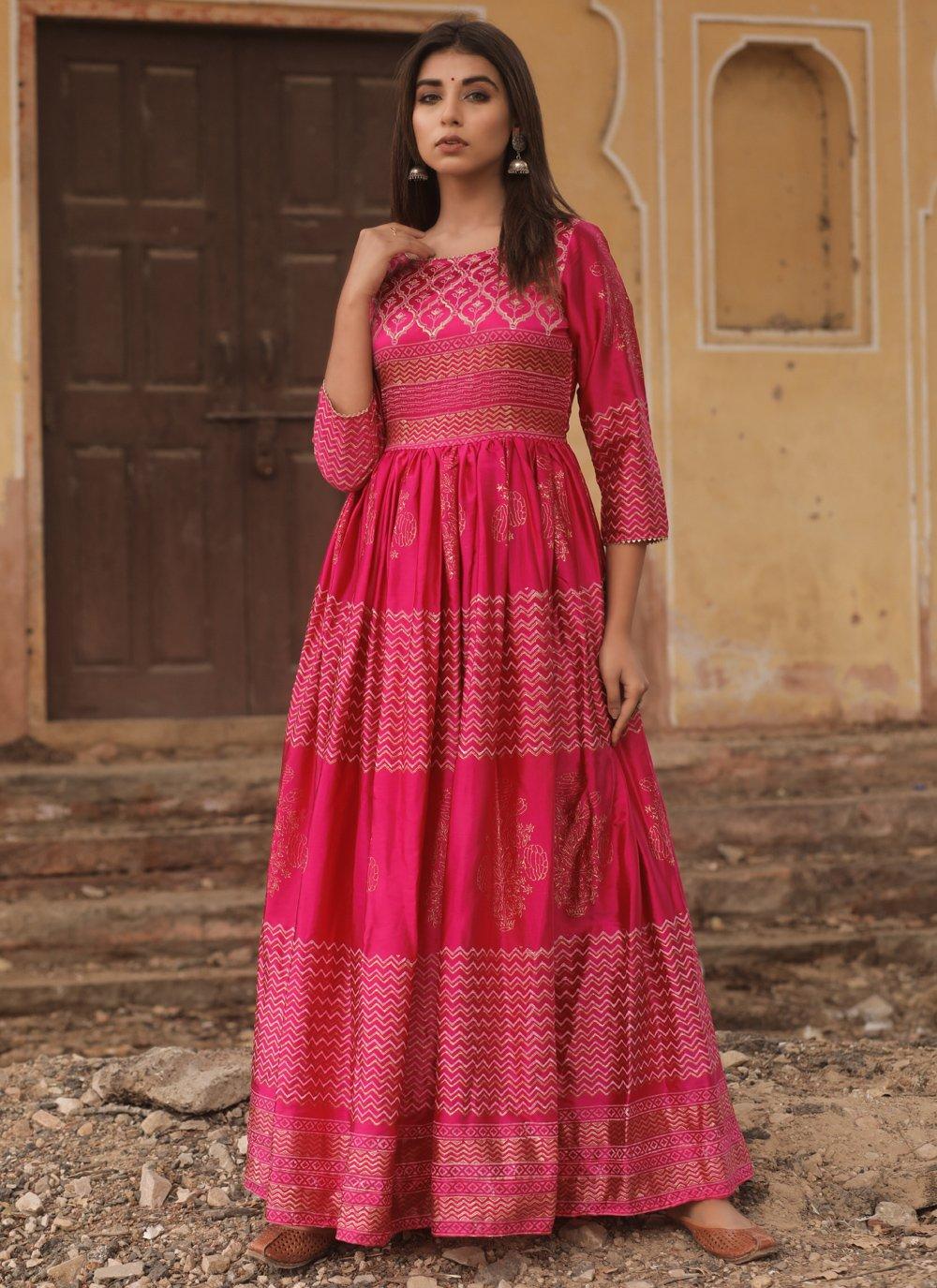 Fancy Fabric Fancy Designer Gown in Hot Pink