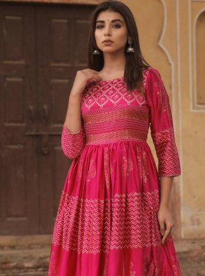 Fancy Fabric Fancy Designer Gown in Hot Pink