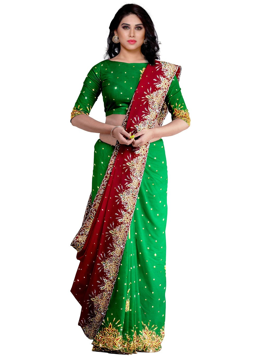 Fancy Fabric Fancy Designer Saree in Green