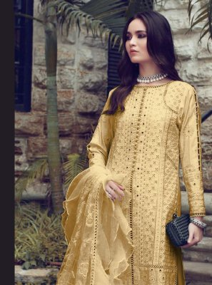 Fancy Fabric Fancy Designer Straight Suit in Yellow