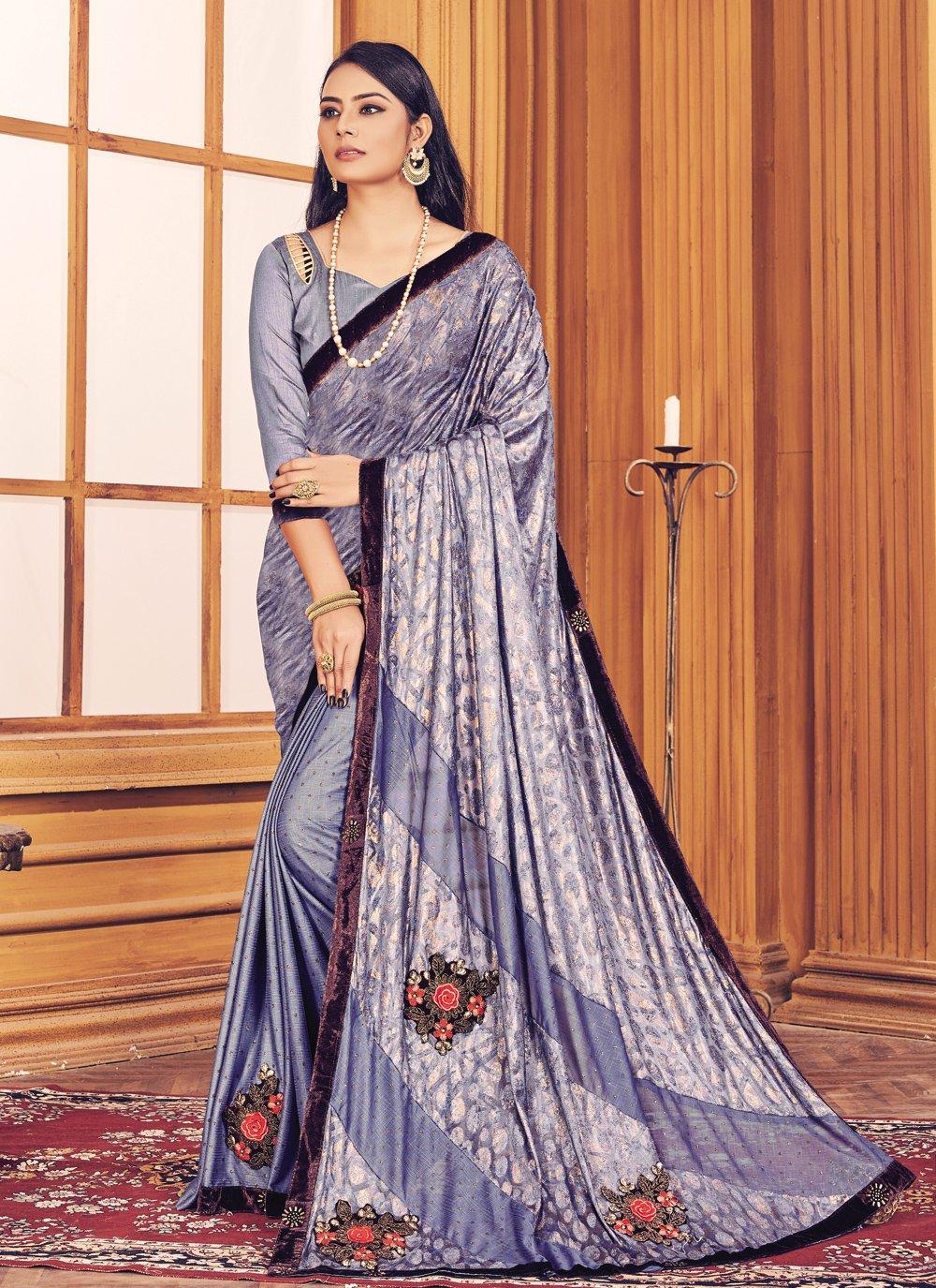 Fancy Fabric Fancy Lavender Trendy Saree