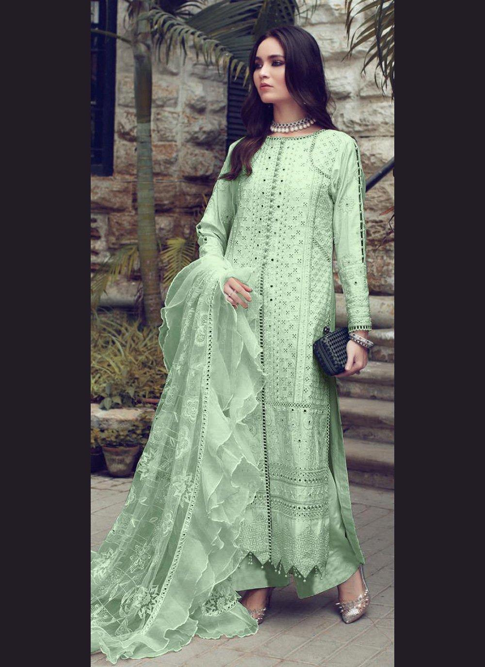 Fancy Fabric Fancy Sea Green Designer Straight Suit