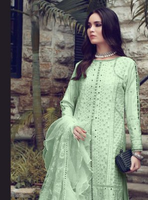 Fancy Fabric Fancy Sea Green Designer Straight Suit